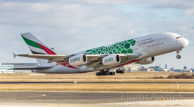 Airbus A380-800 (A6-EOL) - Emirates super climbing off runway 23 at YYZ