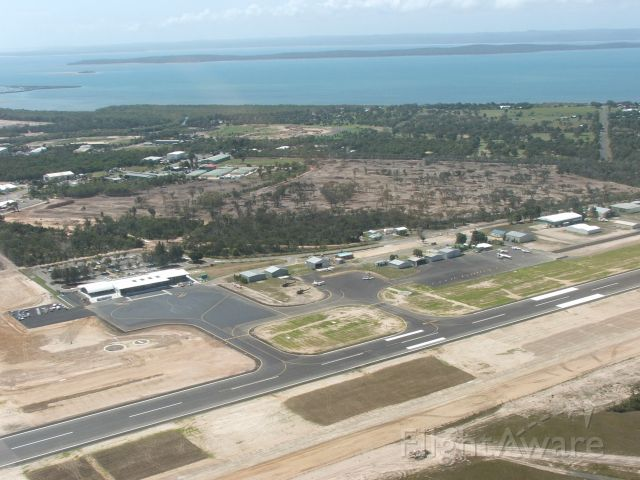 — — - Hervey Bay airport viewed from helicopter.