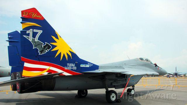 "— — - MiG-29 ""SMOKEY BANDIT 1"" static display at the 2012 Singapore Air Show"