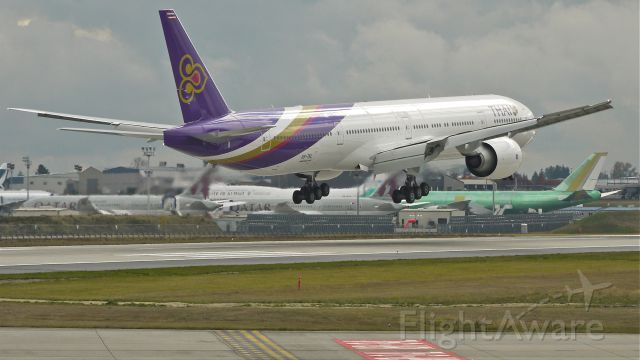 BOEING 777-300 (HS-TKL) - BOE272 on short final to runway 16R to complete a flight test on 10/25/12. (LN:1049 c/n 41521).