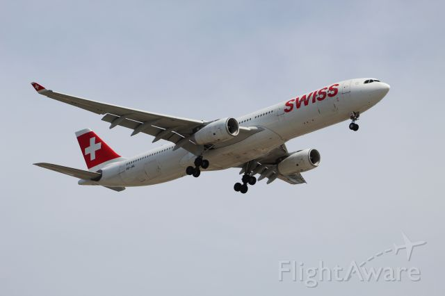 Airbus A330-300 (HB-JHL) - SWR8 from Zurich on 7/14/20. Landing on runway 28C.
