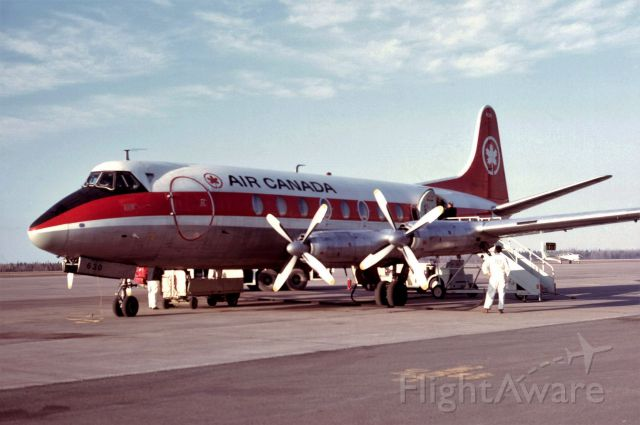 VICKERS Viscount (C-FTHL) - Last Moncton passenger boarding the last Viscount flight from Halifax to retirement in Montreal via Moncton. April 28, 1974.
