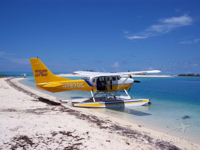 Cessna 206 Stationair (N7270C) - A stationair on the beach at Fort Jefferson on the dry tortugas 70 miles west of key west Fl. in the gulf of Mexico.
