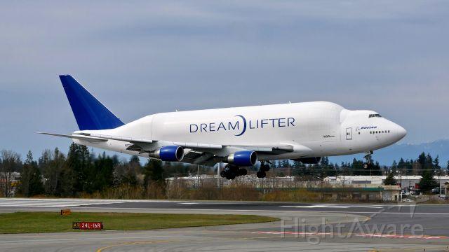 Boeing Dreamlifter (N718BA) - GTI4136 from NGO / RJGG on short final to Rwy 34L on 3.25.19. (B747-4H6(BLCF) / ln 932 / cn 27042).