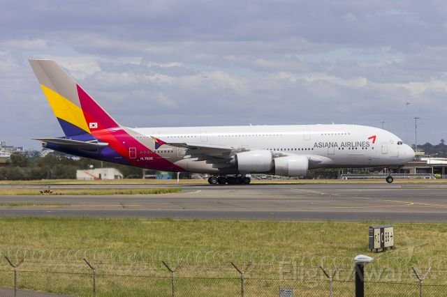 Airbus A380-800 (HL7635) - Asiana Airlines (HL7635) Airbus A380-841 departing Sydney Airport