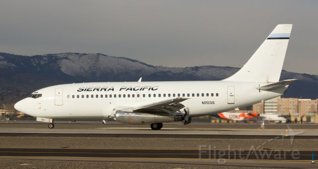 Boeing 737-200 (N703S) - Here is another snap of SPAs N703S to go along with the other photo I just posted.  This shot, which was clicked two days earlier than my other pic and which shows N703Ss midmorning landing on RTIAs runway 16L, is a great capture of the deployed clamshell reversers on the old JT8Ds. But the best thrill is when these two Pratt & Whitneys are at max thrust for takeoff as seen in my previous picture.  Stand at the far end of the runway when one of Sierra Pacifics two B732s is taking off and then blistering out right near you and the sounds of those fabulous old P&Ws are music to an aircraft spotters ears.