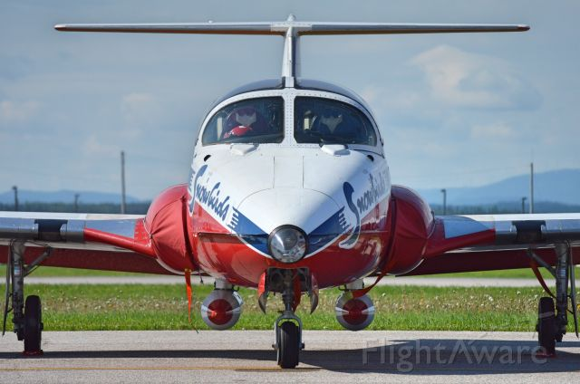 Canadair CL-41 Tutor — - Face to face with one of the Snowbirds. At the Airshow of Bagotville