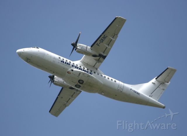 Aerospatiale ATR-42-300 (F-GKNC) - Air France operated ATR 42-300 takes to the skies from Toulouse Blagnac Airport (LFBO-TLS)