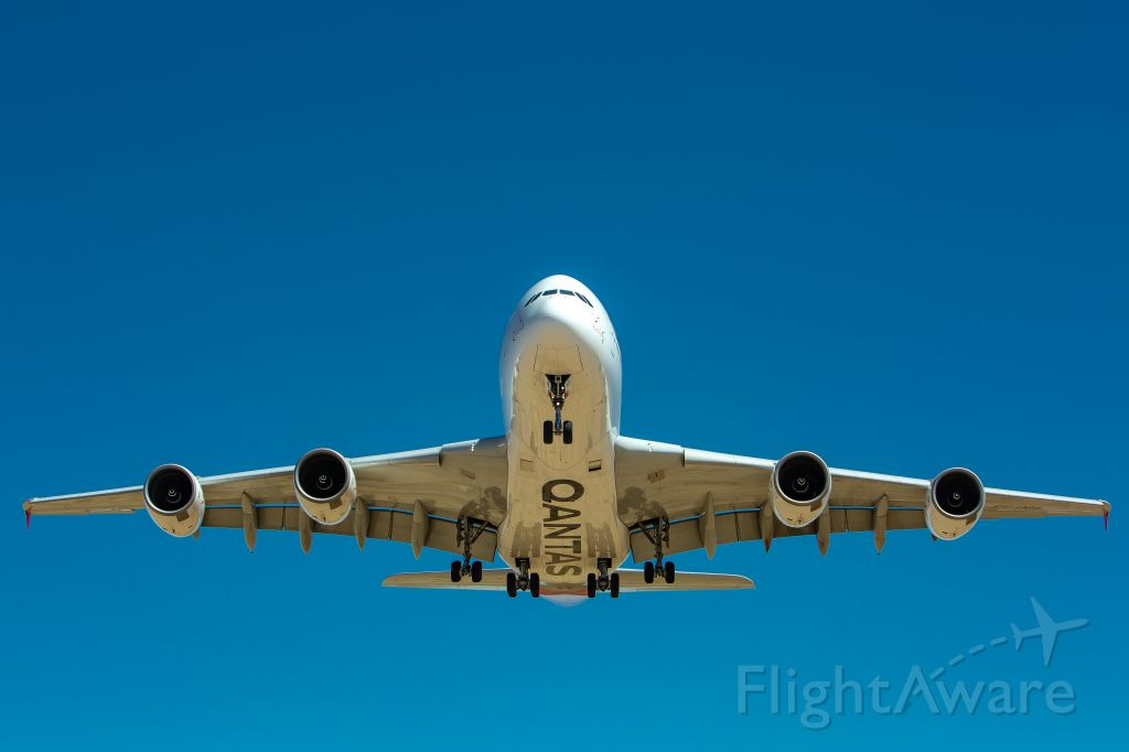 Airbus A380-800 (VH-OQA) - Thanks to USN for helping me set up this shot. A 13 hour and 9 minute flight from Sydney to Victorville on July 10th at 10:57 AM. Qantas is supposed to send all 11 A380s to VCV.