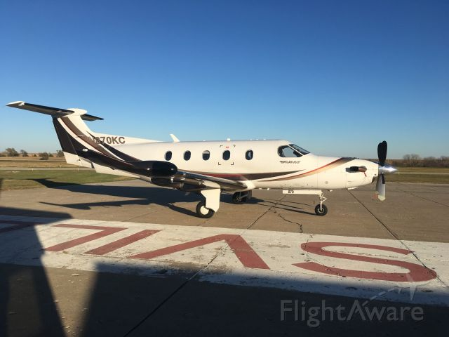 Pilatus PC-12 (N870KC) - On the ramp aircraft pointed south.