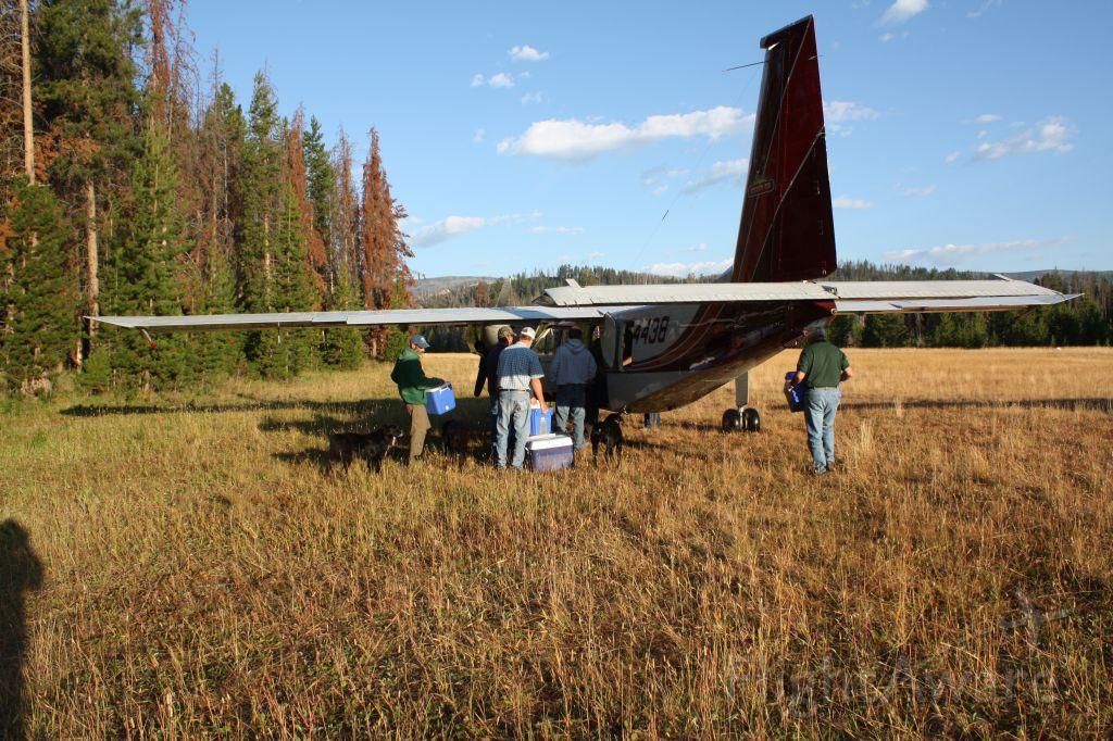 — — - Norman Islander at Chamberlain Basin airstrip, Idaho.