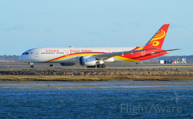 Boeing Dreamliner (Srs.9) (B-7835) - Hainan Airlines Boeing 787-9 taxiing to Runway 22L for departure at Boston Logan.