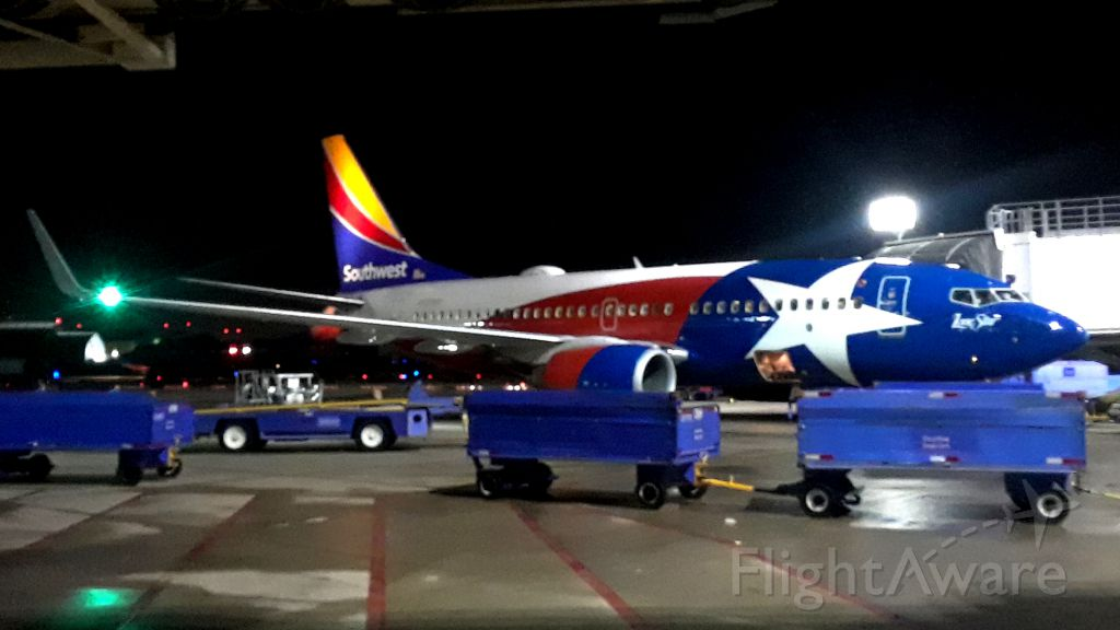 """Boeing 737-700 — - """"LONE STAR 1"""" Waiting for push back, KDAL-KAUS.br /Last run for the night."""