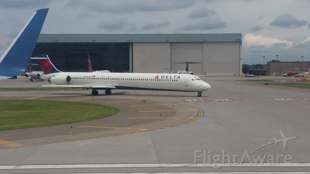 McDonnell Douglas MD-90 (N950DN) - At takeoff.