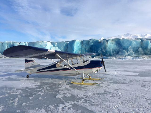 N83971 — - Ski flying by Knik Glacier, Alaska