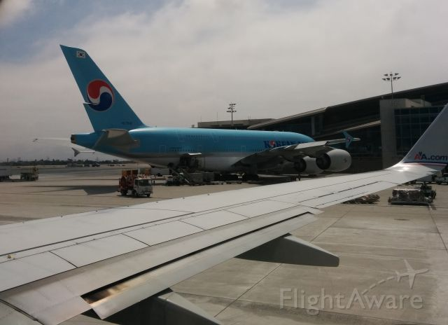 Airbus A380-800 (HL7614) - HL 7614 spotted at KLAX from a departing AAL flight