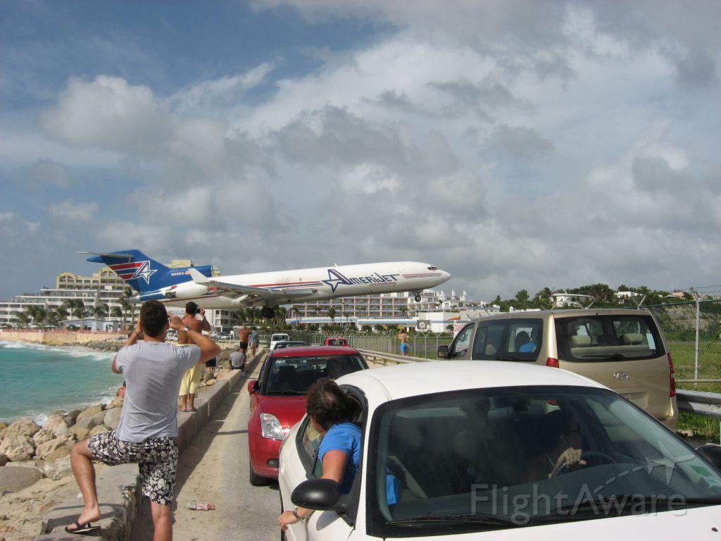Boeing 727-100 (N598AJ) - Unusually low approach even for SXM