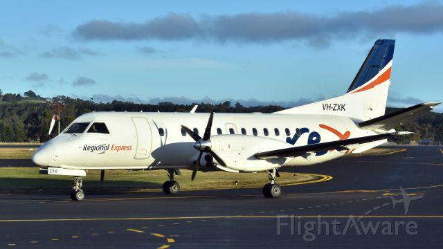 Saab 340 (VH-ZXK) - Regional Express Saab 340B VH-ZXK (340B-420) at Burnie Wynyard Airport Tasmania on 12 June 2017.