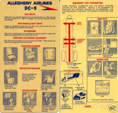 Douglas DC-9-10 — - This is a very old Allegheny Airlines DC-9 Plastic Evac Card from July, 1974 in very very good condition that I have for sale on eBay under eBay user: tracysplace4nascar