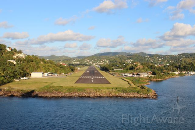 — — - The approach to the George F. L. Charles Airport,  Castries St Lucia, West Indies