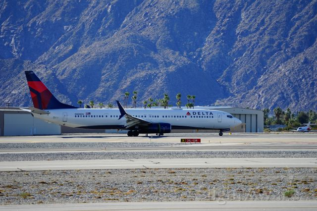 Boeing 737-700 (N888DU) - Delta flight just landed at PSP.  Viewpoint is Palm Springs Aircraft Museum.