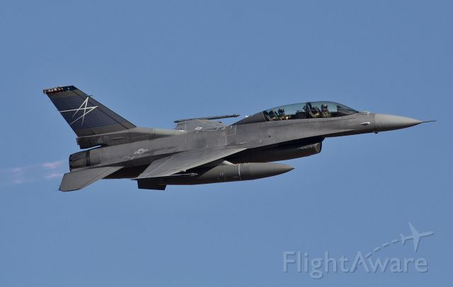 """Lockheed F-16 Fighting Falcon (90-0848) - Lockheed Martin's F-16D chase bird in full afterburner pursuing an F-35A that had just departed on a test hop (please view in """"full"""" for highest image quality)"""