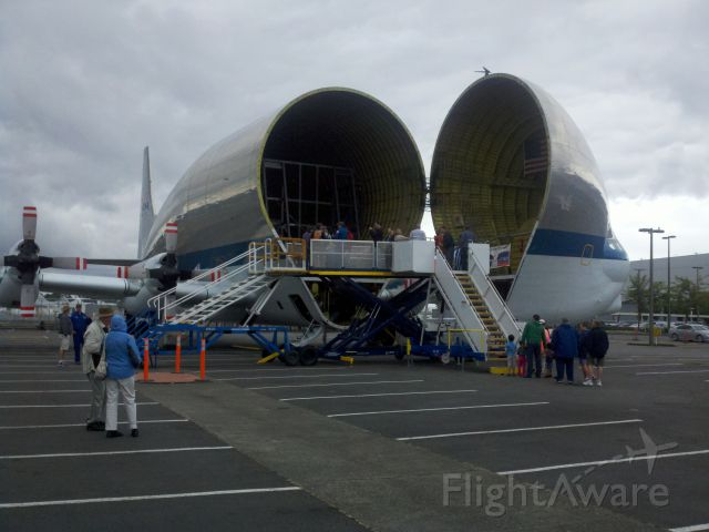 — — - Super Guppy with observation platform at Boeing Field, Seattle WA after delivery of Shuttle trainer to Museum of flight.