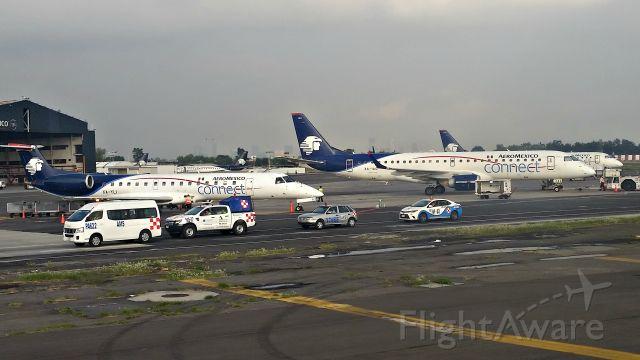 Embraer ERJ-145 (XA-YLI) - E-145(XA-LYI)+ E170(XA-IAC) parked on Aeromexico Ramp 26/8/2016