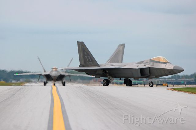 Lockheed F-22 Raptor (04-4072) - A pair of USAF Lockheed Martin F-22A Raptor's, 04-4072, cn 645-4072, and 05-4104, cn 645-4104, taxiing to Atlantic Aviation on 31 Aug 2016. The Raptors are from the USAF Air Combat Command (ACC) Demo Team based at Joint Base Langley-Eustis (JBLE), VA- USA.