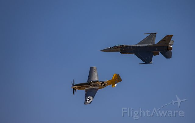 — — - Heritage flight at the Capitol Airshow 2016. P-51 Mustang & F-16 Viper.