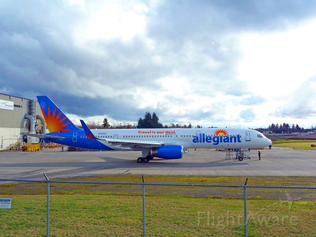 Boeing 757-200 (N902NV) - 2-17-2011 Boeing Allegiant Air 757-204, N902NV, cn26964-line 452, delivered 10-5-2010, sporting new colors and retrofitted for fuel efficient winglets at ATS, hangar #3  ||||  Allegiant was founded in 1998 and is based in Las Vegas.  It has an old fleet of McDonald Douglas MD 82, 83, 87 and 88s, but purchased 6-757s in 2010.  ||||  Photo at ATS by Bruce McKinnon