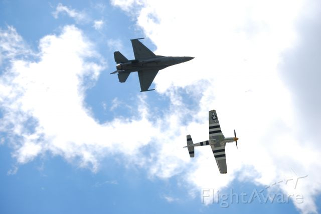 — — - Westmoreland Air Show 2017 at Arnold Palmer Regional Airport in Latrobe, PA.br /P-51 Mustang and F-16 Fighting Falcon.