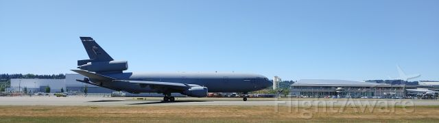 N51946 — - KC-10 from Travis AFB (Fairfield, CA) on RWY 32L starting takeoff at Boeing Field. Behind the Extender is the Museum of Flight.