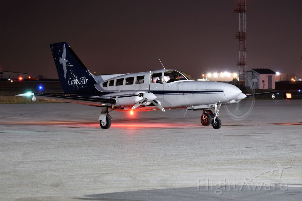 Cessna 402 (N3249M) - Starting up.<br /><br />Best at full size