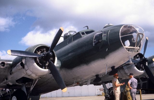 N7227C — - Pre-flighting the CAF B-17G prior to take-off.