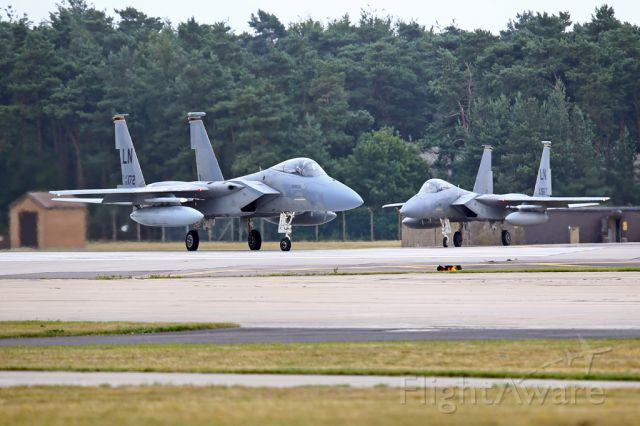 McDonnell Douglas F-15 Eagle — - A pair of Eagles getting ready to depart from their home base in the UK.