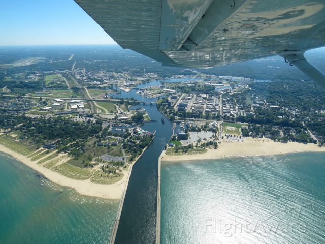 Cessna Skyhawk — - Flying out of C20 over the town of St. Joseph, Michigan with Benton Harbor