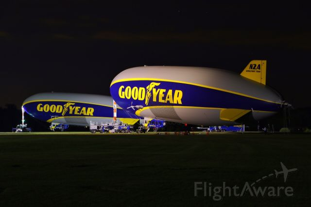 Unknown/Generic Airship (N2A) - Goodyears first two Zeppelin NT models are illuminated by the hangar lights at Goodyears Wingfoot Lake Airship Base, in Suffield, Ohio.