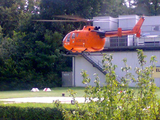 PADC BO-105 (D-HGSO) - Start/takeoff im R.Vierchow Klinikum Berlin,D-HGSO-