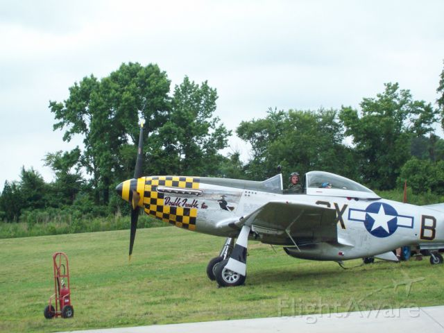 """North American P-51 Mustang (46-3684) - A P-51 just before take off. Notice the cowl flaps are 100%25.(behind the air intake """"scoop"""")"""