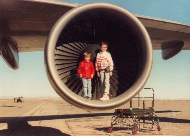 BOEING 747-100 (N905NA) - My brother and me(left) standing in the number 2 engine