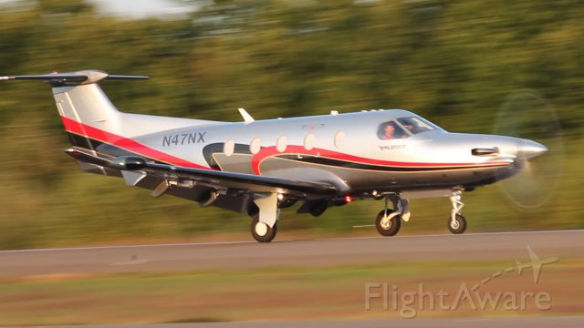 Pilatus PC-12 (N47NX) - Shortly after arrival on runway 20.