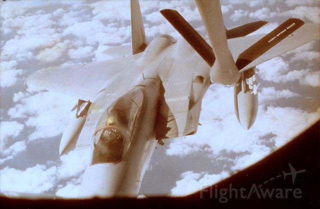 — — - F-15 breaking contact during refueling, over Gulf of Mexico. Tanker was from Barksdale AFB, La. Jan, 1977