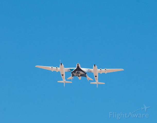 Scaled Composites White Knight 2 (N348MS) - Test flight of Virgin Galactic Spaceship 2 at Spaceport America, New Mexico. Taken 10/17/2011.  Photo © Douglas M. Weisman.