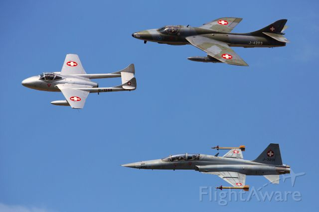 Hawker Hunter (HB-RVW) - AIR-14, Payerne/CH<br />Hawker Hunter TMk.68 (ex. J-4203) now HB-RVW together with<br />DH-115 Vampire Mk55 (ex. U-1208) now HB-RVF and Tiger F5-F J-3201.