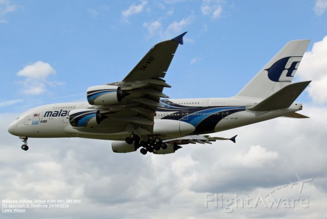 Airbus A380-800 (9M-MNF) - Taken on approach to 27R at Heathrow