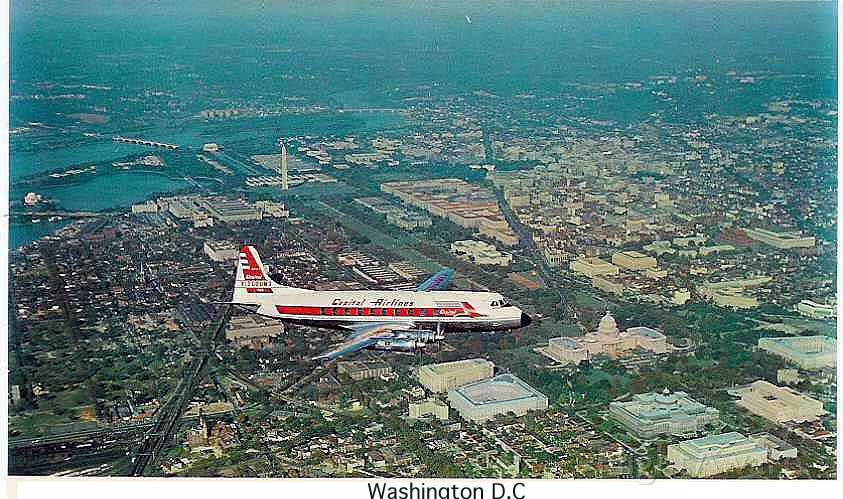 VICKERS Viscount — - Old Capital Airlines Viscount over Washington DC early 1950s