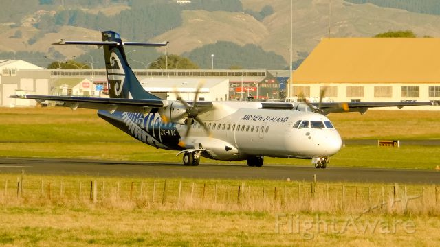 Aerospatiale ATR-72-600 (ZK-MVC) - ZK-MVC, an Air New Zealand ATR 72-600 showing off its livery in the classic golden light at Palmerston North.