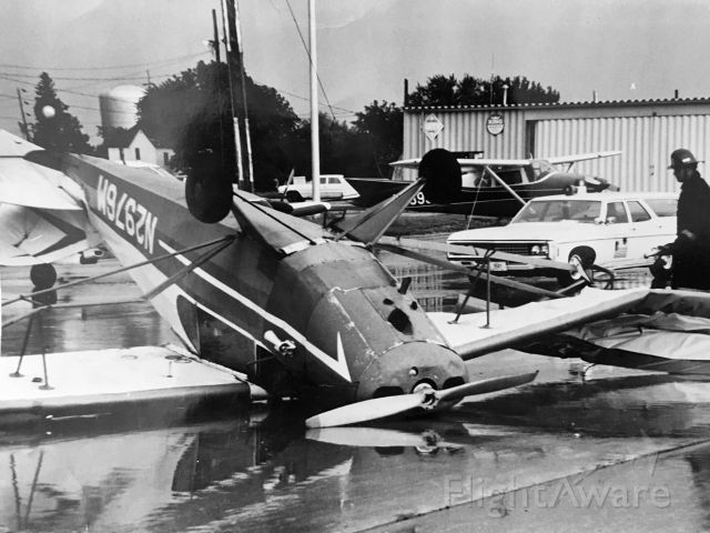 Piper PA-12 Super Cruiser (N2976M) - Super Cruiser owned by CAP Air Flying Club (Blandinsville, Illinois) flipped by winds at Burlington, Iowa 6/11/1971.