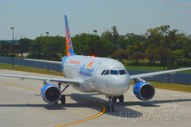 Airbus A319 (N304NV) - Allegiant 48 from Las Vegas is taxing into Gate A10 at Omaha Eppley Airfield at 12:56 PM on July 27, 2018.  Photo taken with Nikon D3200 mourning 55-200mm VR lens.